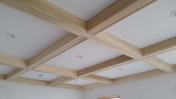 custom home office beam ceiling